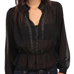 Free People Beaded Long Sleeve Black Top Size XS